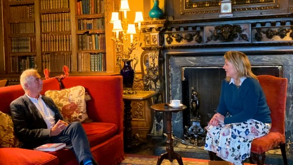 Novelist Robert Harris with the Countess of Carnarvon