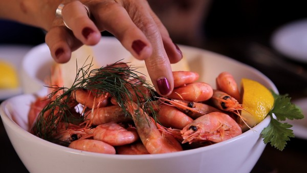 Peeling Shrimp in Bergen